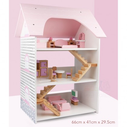 3 Storeys Wooden Villa Dollhouse with Accessories